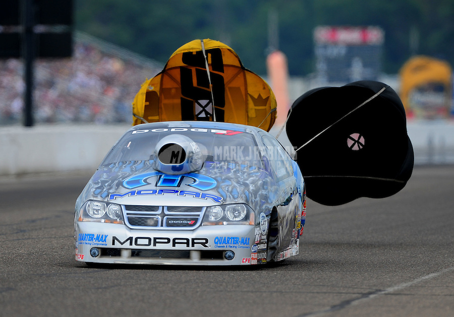 Aug. 20, 2011; Brainerd, MN, USA: NHRA pro stock driver Allen Johnson during qualifying for the Lucas Oil Nationals at Brainerd International Raceway. Mandatory Credit: Mark J. Rebilas-