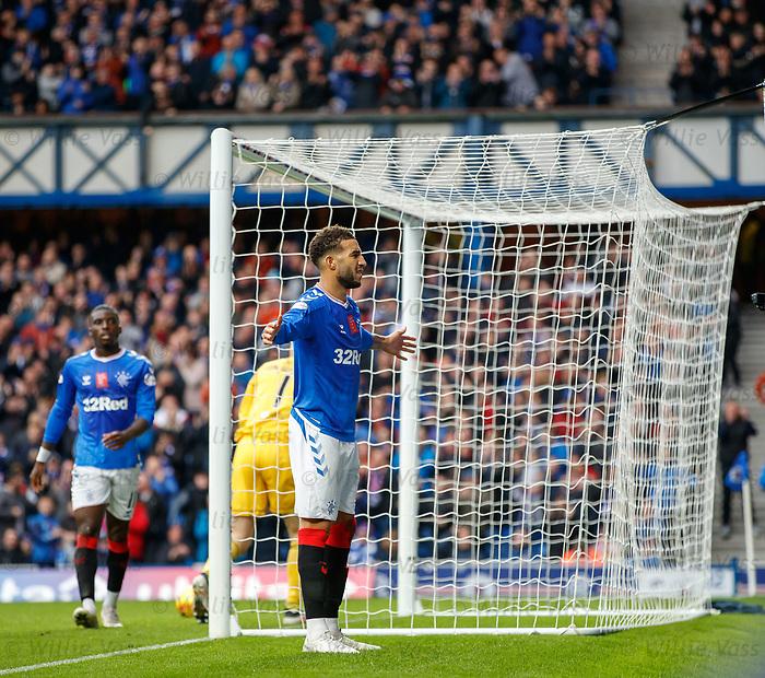 06.10.2019 Rangers v Hamilton: Connor Goldson celebrates his goal for Rangers