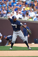 Milwaukee Brewers second baseman Elian Herrera (3) throws to first during a game against the Chicago Cubs on August 13, 2015 at Wrigley Field in Chicago, Illinois.  Chicago defeated Milwaukee 9-2.  (Mike Janes/Four Seam Images)