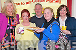 Attending the Daffodil day coffee morning at Ballyspillane FRC on Friday last. .L-R Patricia O'Brien, Marguerite McCarthy (Voice of The Traveller Magazine), John Adams, Noreen O'Brien and Laura Greene (Voice of The Traveller Magazine).