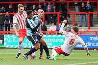 Aaron Holloway of Wycombe Wanderers goes close during the Sky Bet League 2 match between Stevenage and Wycombe Wanderers at the Lamex Stadium, Stevenage, England on 17 October 2015. Photo by PRiME Media Images.