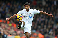 Wayne Routledge of Swansea City takes control of the aerial pass during the Premier League match between Liverpool and Swansea City at Anfield, Liverpool, Merseyside, England, UK. Saturday 21 January 2017