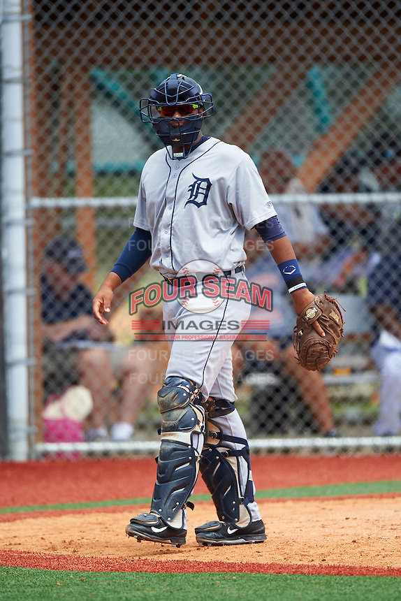 GCL Tigers West catcher Moises Nunez (48) during a game against the GCL Tigers East on August 4, 2016 at Tigertown in Lakeland, Florida.  GCL Tigers West defeated GCL Tigers East 7-3.  (Mike Janes/Four Seam Images)
