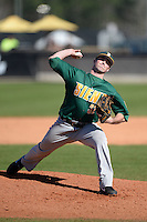 Siena Saints pitcher Neil Fryer (32) during a game against the Central Florida Knights at Jay Bergman Field on February 16, 2014 in Orlando, Florida.  UCF defeated Siena 9-6.  (Mike Janes/Four Seam Images)