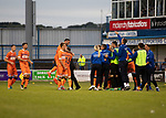 Visiting players and backroom staff celebrating their team's first-half opening goal as Coleraine (in blue) played Spartak Subotica of Serbia in a Europa League Qualifying First Round second leg at the Showgrounds, Coleraine. The hosts from Northern Ireland had drawn the away leg 1-1 the previous week, however, the visitors won the return leg 2-0 to progress to face Sparta Prague in the next round, watched by a sell-out crowd of 1700.