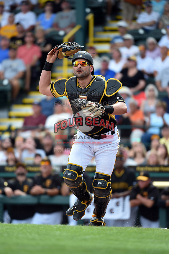 Pittsburgh Pirates catcher Francisco Cervelli (29) during a Spring Training game against the Minnesota Twins on March 13, 2015 at McKechnie Field in Bradenton, Florida.  Minnesota defeated Pittsburgh 8-3.  (Mike Janes/Four Seam Images)