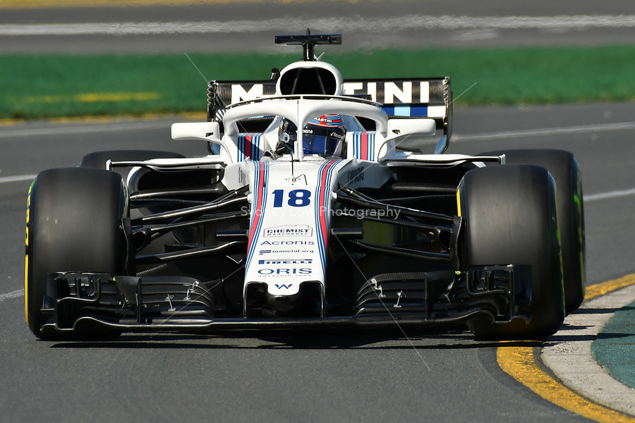 March 23, 2018: Lance Stroll (CAN) #18 from the Williams Martini Racing team during practice session one at the 2018 Australian Formula One Grand Prix at Albert Park, Melbourne, Australia. Photo Sydney Low