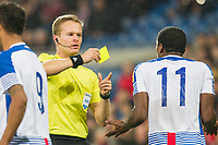 Armando Cooper of Panama is shown a yellow card by referee Bart Vertenten during the International Friendly match between Wales and Panama at the Cardiff City Stadium, Cardiff, Wales on 14 November 2017. Photo by Mark Hawkins.