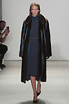 Rachel walks runway in a midnight silk crepe dress with brown mahogonay mink and midnight blue leather coat, from the Georgine Fall 2016 collection, by Georgine Rateland at NYFW: The Shows Fall 2016, during New York Fashion Week Fall 2016.