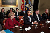 Washington, DC - January 28, 2009 -- United States President Barack Obama speaks in the Roosevelt Room of the White House, Wednesday, January 28, 2009 in Washington DC.  President Obama is meeting with business leaders to discuss the economy. From left to right are, Anne Mulcahy, CEO of Xerox, Obama, Eric Schmidt, CEO of Google, and David Barger, CEO of JetBlue. .Credit: Brendan Smialowski - Pool via CNP