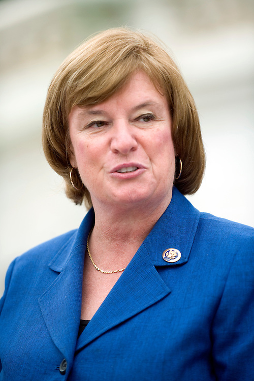 Rep. Carol Shea-Porter, D-N.H, speaks at a rally on the west front to unveil House Democrats' health care reform legislation, Oct. 29, 2009.