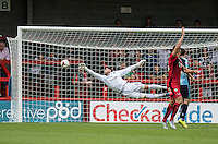Goalkeeper Matt Ingram of Wycombe Wanderers with a brilliant save from a Simon Walton of Crawley Town shot during the Sky Bet League 2 match between Crawley Town and Wycombe Wanderers at Checkatrade.com Stadium, Crawley, England on 29 August 2015. Photo by Liam McAvoy.