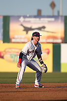 Brendan Rodgers (1) of the Lancaster JetHawks at shortstop during a game against the San Jose Giants at The Hanger on May 5, 2017 in Lancaster, California. San Jose defeated Lancaster, 4-2. (Larry Goren/Four Seam Images)