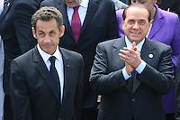 L'Aquila: Nicolas Sarkozy e Silvio Berlusconi al G8