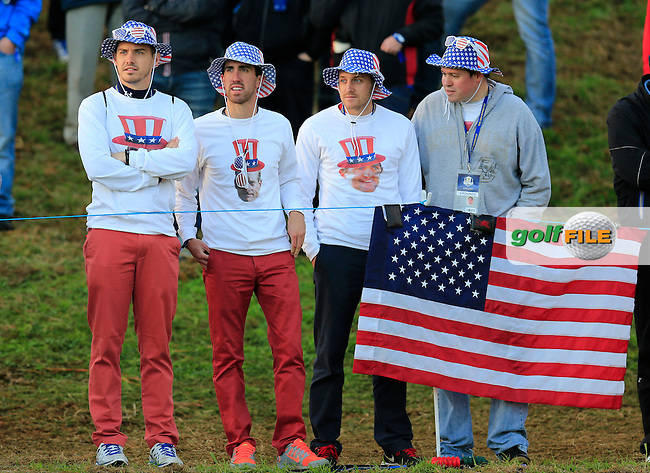 USA fans during the Saturday morning Fourballs of the 2014 Ryder Cup at Gleneagles. The 40th Ryder Cup is being played over the PGA Centenary Course at The Gleneagles Hotel, Perthshire from 26th to 28th September 2014.: Picture Eoin Clarke, www.golffile.ie / www.golftouri,ages.com: \27/09/2014\