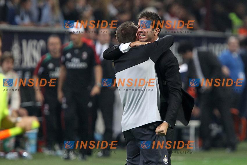 """Esultanza Antonio Cassano Andrea Stramaccioni Inter.Celebration.Milano 07/10/2012 Stadio """"San Siro"""".Football Calcio Serie A 2012/13.Milan v Inter.Foto Insidefoto Paolo Nucci."""