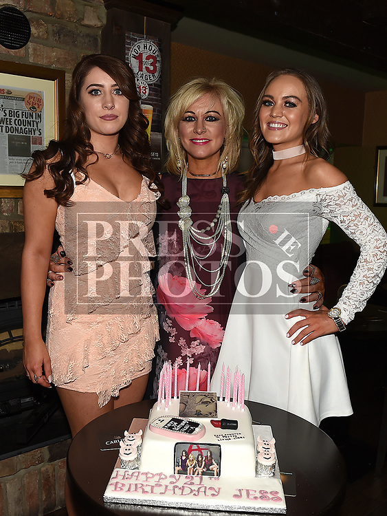 Jess Thompson celebrating her 21st birthday in Donaghy's with mother Orla and sister Rebecca. Photo:Colin Bell/pressphotos.ie