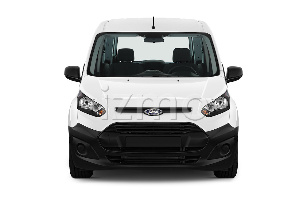 Car photography straight front view of a 2016 Ford Transit-Connect Van-XL-SWB-(Rear-Liftgate) 5 Door Mini MPV Front View