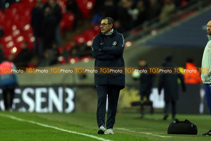 Chelsea manager Maurizio Sarri before Tottenham Hotspur vs Chelsea, Caraboa Cup Football at Wembley Stadium on 8th January 2019