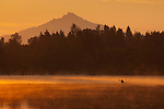 Lake Cassidy reflections in fog with man in Kayak with Mount Pilchuck