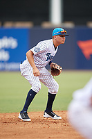 Tampa Tarpons shortstop Diego Castillo (19) during a game against the Lakeland Flying Tigers on April 8, 2018 at George M. Steinbrenner Field in Tampa, Florida.  Lakeland defeated Tampa 3-1.  (Mike Janes/Four Seam Images)