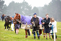 Smiles in the misty rain during the First Horse Inspection. 2016 NZL-Puhinui International 3 Day Event. Puhinui Reserve, Auckland. Thursday 8 December. Copyright Photo: Libby Law Photography
