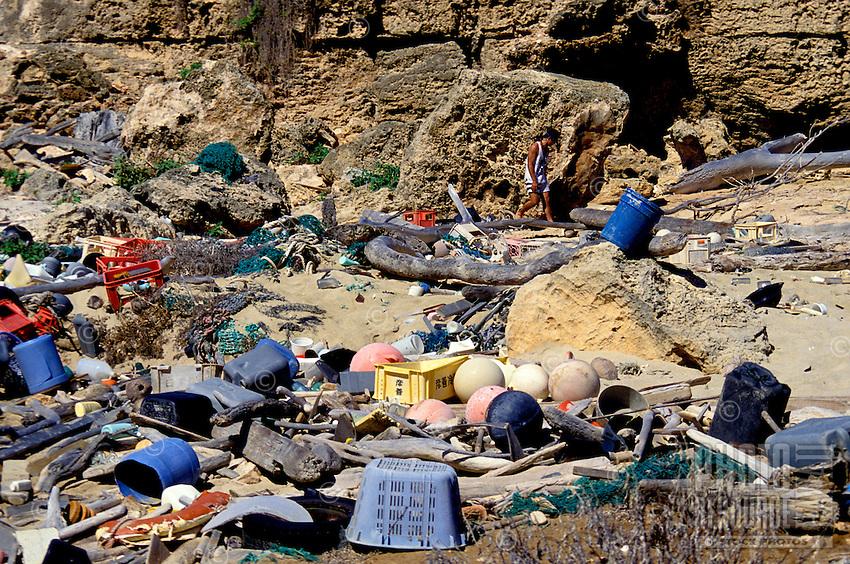 "Plastics and other debris on shoreline near """"South Point"""" of Niihau."
