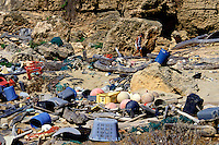 "Plastics and other debris on shoreline near """"South Point"""" of Niihau."
