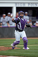High Point Panthers catcher JJ Woodard (11) makes a throw to first base against the North Carolina Central Eagles at Williard Stadium on February 28, 2017 in High Point, North Carolina. The Eagles defeated the Panthers 11-5. (Brian Westerholt/Four Seam Images)