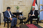 Palestinian Prime Minister Mohammad Ishtayeh meets with Representative of Canada to the Palestinian Authority Douglas Scott Proudfoot, in the West Bank city of Ramallah, July 31, 2019. Photo by Prime Minister Office
