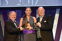 Edel Shinners, Limerick Musical Society, who won the Spirit of AIMS for the show 'Chess' receiving the trophy from on  left, Colm Moules, President, AIMS and Seamus Power, Vice-President at the Association of Irish Musical Societies annual awards in the INEC, KIllarney at the weekend.<br /> Photo: Don MacMonagle -macmonagle.com<br /> <br /> <br /> <br /> repro free photo from AIMS<br /> Further Information:<br /> Kate Furlong AIMS PRO kate.furlong84@gmail.com