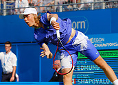 June 19th 2017, Queens Club, West Kensington, London; Aegon Tennis Championships, Day 1; Denis Shapovalov (CAN) serves during his 1st round singles match against Kyle Edmund (GBR)