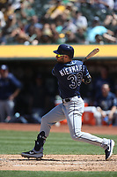 OAKLAND, CA - JUNE 22:  Kevin Kiermaier #39 of the Tampa Bay Rays bats against the Oakland Athletics during the game at the Oakland Coliseum on Saturday, June 22, 2019 in Oakland, California. (Photo by Brad Mangin)