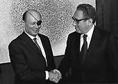 """Washington, DC - January 4, 1973 -- Defense Minister Moshe Dayan of Israel, left, is shown as he met with United States Secretary of State Henry A. Kissinger, right, at the United States Department of State in Washington, D.C. on January 4, 1973..Credit: B.E. """"Gene"""" Forte / CNP"""