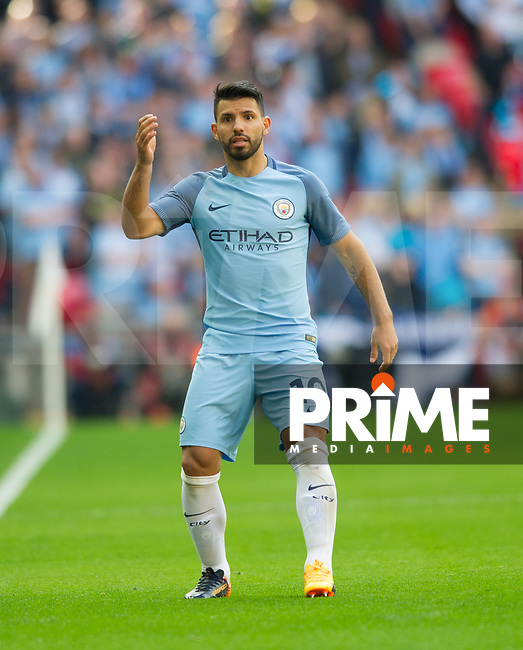 Manchester City Sergio Aguero  during the FA Cup Semi Final match between Manchester City and Arsenal at the Wembley  Stadium, Manchester, England on 23 April 2017. Photo by Andrew Aleksiejczuk / PRiME Media Images.