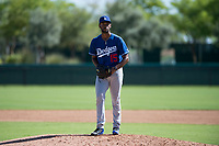 Los Angeles Dodgers relief pitcher Andre Jackson (15) gets ready to deliver a pitch during an Instructional League game against the San Diego Padres at Camelback Ranch on September 25, 2018 in Glendale, Arizona. (Zachary Lucy/Four Seam Images)