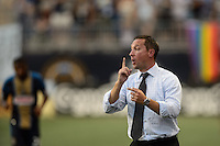Portland Timbers head coach Caleb Porter during a Major League Soccer (MLS) match against the Philadelphia Union at PPL Park in Chester, PA, on July 20, 2013.