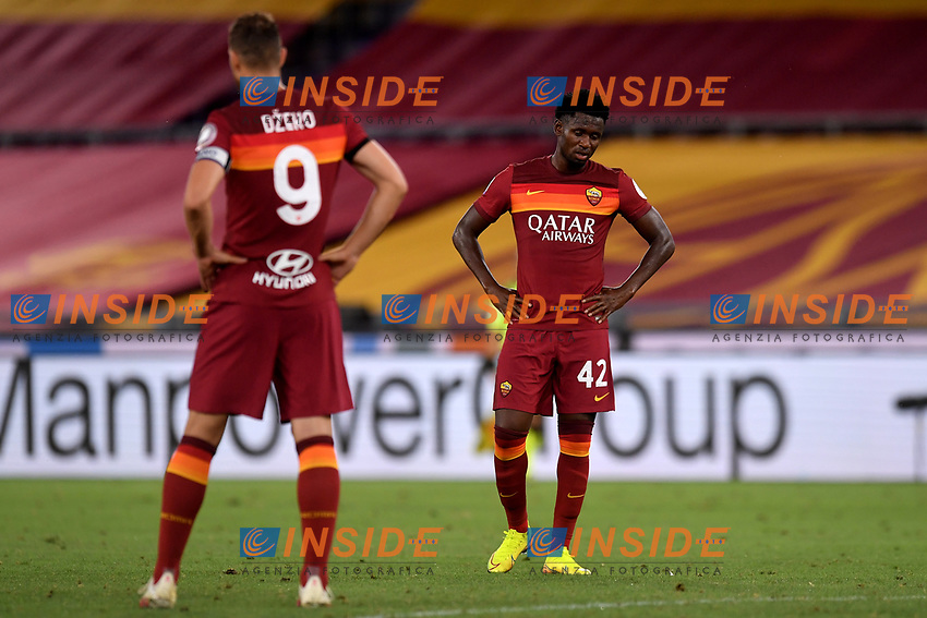 Amadou Diawara of AS Roma during the Serie A football match between AS Roma and ACF Fiorentina at stadio Olimpico in Roma (Italy), July 26th, 2020. Play resumes behind closed doors following the outbreak of the coronavirus disease. <br /> Photo Antonietta Baldassarre / Insidefoto