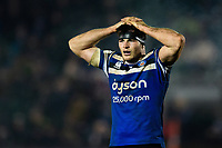 Josh Bayliss of Bath Rugby looks on during a break in play. Premiership Rugby Cup match, between Bath Rugby and Gloucester Rugby on February 3, 2019 at the Recreation Ground in Bath, England. Photo by: Patrick Khachfe / Onside Images