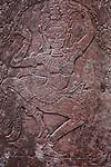 A bas-relief of an apsara at Preah Khan, Cambodia. June 8, 2013.