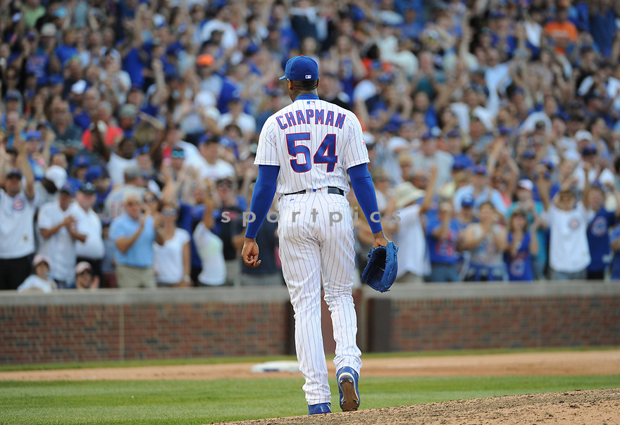 Chicago Cubs Aroldis Chapman (54) during a game against the San Francisco Giants on September 4, 2016 at Wrigley Field in Chicago, IL. The Cubs beat the Giants 3-2.
