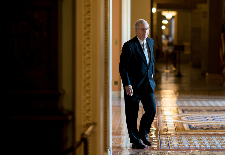 UNITED STATES - JUNE 26: Senate Majority Leader Mitch McConnell, R-Ky., leaves the Senate Republicans' policy lunch in the Capitol on Tuesday, June 26, 2018. (Photo By Bill Clark/CQ Roll Call)