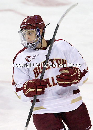 Danny Linell (BC - 10) - The Boston College Eagles defeated the visiting Merrimack College Warriors 4-3 on Friday, November 16, 2012, at Kelley Rink in Conte Forum in Chestnut Hill, Massachusetts.