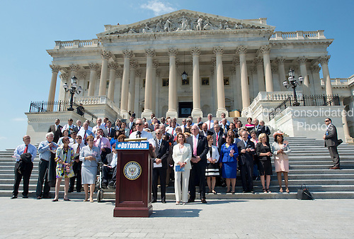 Democratic members of the United States House of Representatives and US Senate assemble on the East Steps of the US Capitol to call on Republican leadership in both legislative bodies to schedule votes on funding to combat the Zika Virus, to prohibit people on the federal &quot;no fly&quot; list from purchasing guns, and to conduct confirmation hearings and schedule a vote on the confirmation of Judge Merrick Garland as Associate Justice of the US Supreme Court in Washington, DC on Thursday, September 8, 2016.<br /> Credit: Ron Sachs / CNP