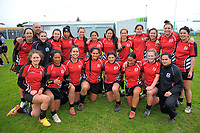 The Manukura team poses for a group photo after the 2017 Hurricanes Secondary Schools girls rugby union final between Manukura College and St Mary's College at Arena Manawatu in Palmerston North, New Zealand on Saturday, 2 September 2017. Photo: Dave Lintott / lintottphoto.co.nz