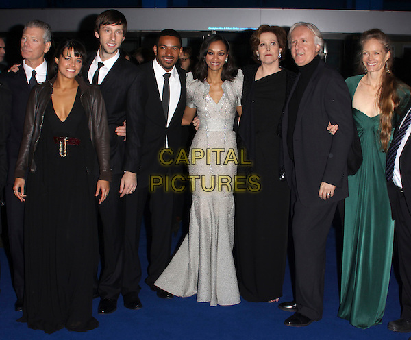 """STEPHEN LANG, MICHELLE RODRIGUEZ, JOEL DAVID MOORE, LAZ ALONSO, ZOE SALDANA, SIGOURNEY WEAVER, JAMES CAMERON & SUZY AMIS.Arrivals - World Premiere of """"Avatar"""", Odeon Leicester Square, London, England..December 10th, 2009.full length black silver grey gray suit tie dress long maxi director green .CAP/AH.©Adam Houghton/Capital Pictures."""