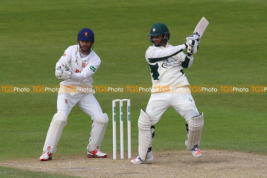 Brett D'Oliveira hits four runs for Worcestershire as James Foster looks on from behind the stumps during Worcestershire CCC vs Essex CCC, Specsavers County Championship Division 2 Cricket at New Road on 3rd May 2016