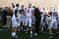 2 December 2006: Evan Moore is congratulated by Will Powers and Patrick Danahy after making a one-handed catch for a 51-yard touchdown during Stanford's 26-17 loss to Cal in the 109th Big Game at Memorial Stadium in Berkeley, CA.