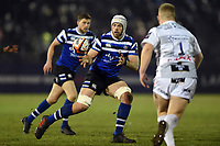 Dave Attwood of Bath Rugby receives the ball. Premiership Rugby Cup match, between Bath Rugby and Gloucester Rugby on February 3, 2019 at the Recreation Ground in Bath, England. Photo by: Patrick Khachfe / Onside Images