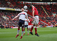 Tom Lockyer of Charlton Athletic flicks on the ball which is blocked by Adam Clayton of Middlesbrough during Charlton Athletic vs Middlesbrough, Sky Bet EFL Championship Football at The Valley on 7th March 2020